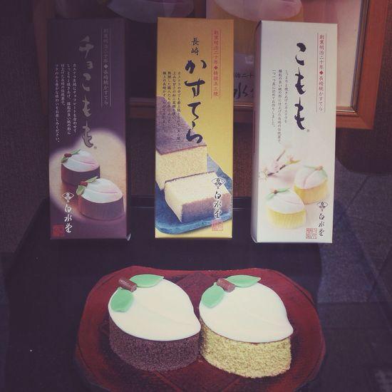 Breaktime! : Nagasaki traditional Dessert Patisserie 桃カステラ( momo Castella ) Show Window Dessert Porn Food Porn Japanese Sweets. 和華蘭(Nagasaki Culture) 🇯🇵 + 🇨🇳 + 🇵🇹 Mix Culture Walking Around The City  Nagasaki-shi