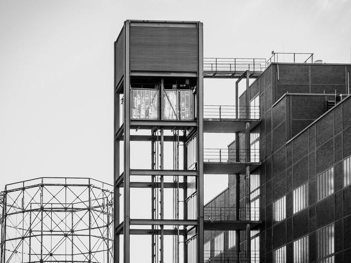 Built Structure Architecture Building Exterior Low Angle View Sky Building Day No People Nature Outdoors Industry Glass - Material Window Clear Sky Staircase Metal Modern Safety Tall - High City Zeche Zollverein Mining Mining Industry Coal Mine Coal