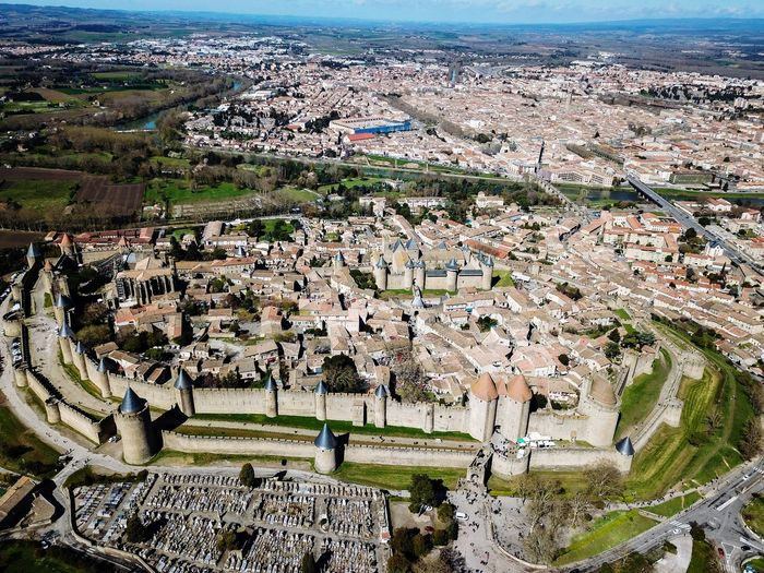 Carcassonne, France DJI Mavic Pro Drone  Dronephotography Drone Photography Droneshot Drones Aerial View Eye4photography  Travel Traveling Landscape France City Cityscape cityscapes High Angle View Medieval Architecture Carcassonne Ancient Civilization History Dji EyeEm Best Shots Cultures Water Sea Beach High Angle View Sky Horizon Over Water Go Higher The Great Outdoors - 2018 EyeEm Awards The Traveler - 2018 EyeEm Awards