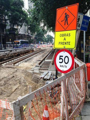 Obras do Vlt Veículo Leve Sobre Trilhos Avenida Rio Branco Centro Under Construction... Rio De Janeiro Transport