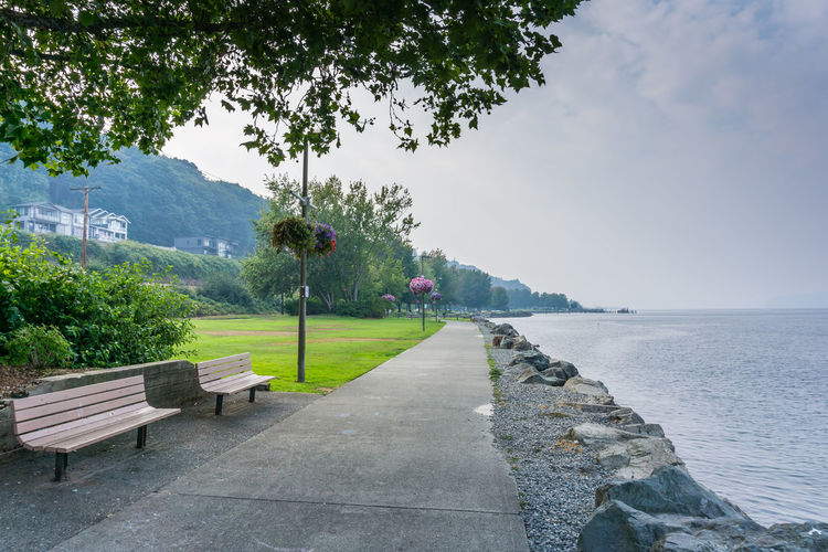 Smoke from wild fires covers the shoreline in Ruston, Washington. Rust Smoke Beauty In Nature Bench Day Footpath Growth Hazy  Idyllic Mountain Nature No People Outdoors Park Bench Plant Scenics - Nature Sea Seat Shoreline Sky Tranquil Scene Tranquility Tree Walkway Water