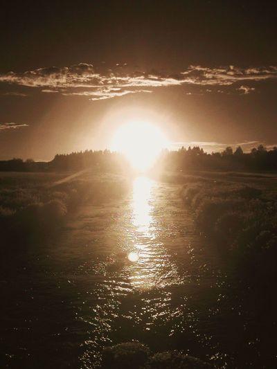 Die Ach im Gegenlicht Sunset at River
