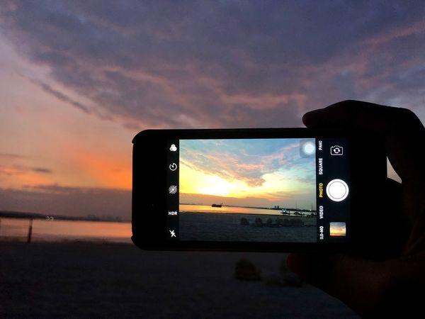 Sunset Sunset Sky Technology Photography Themes Beach Sea Nature