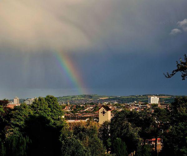 Rainbow over town