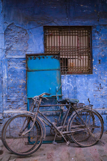 Bicycle against old building