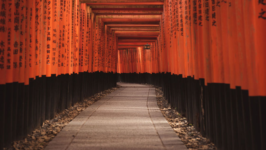 The Way Forward Direction Diminishing Perspective Architecture In A Row No People Built Structure Belief Spirituality Shrine Architectural Column Travel Destinations Place Of Worship Religion Empty Orange Color Footpath Building vanishing point Outdoors Long