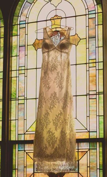 Brides dress Bride Dress Hanging Stained Glass Window Sunshine Ready To Be Married I Love You I Do 43 Golden Moments