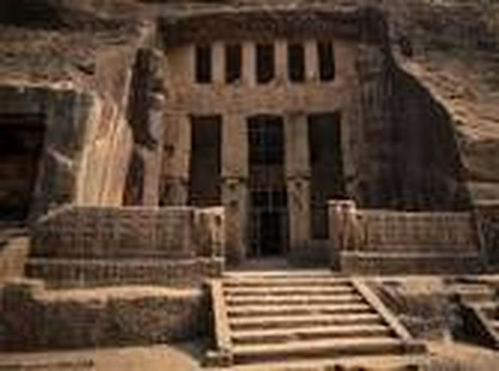this is Kanheri caves mumbai all the structure carved in hills. Old Ruin