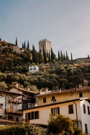 Architecture Tree Residential Building Town No People House Sky Outdoors Day Cityscape Italy Italy Holidays Italy Photos Idyllic Tranquility Tranquil Scene Garda TOWNSCAPE Houses Houses On Hill Italianstyle Castle Castle View  Castle Tower Castles