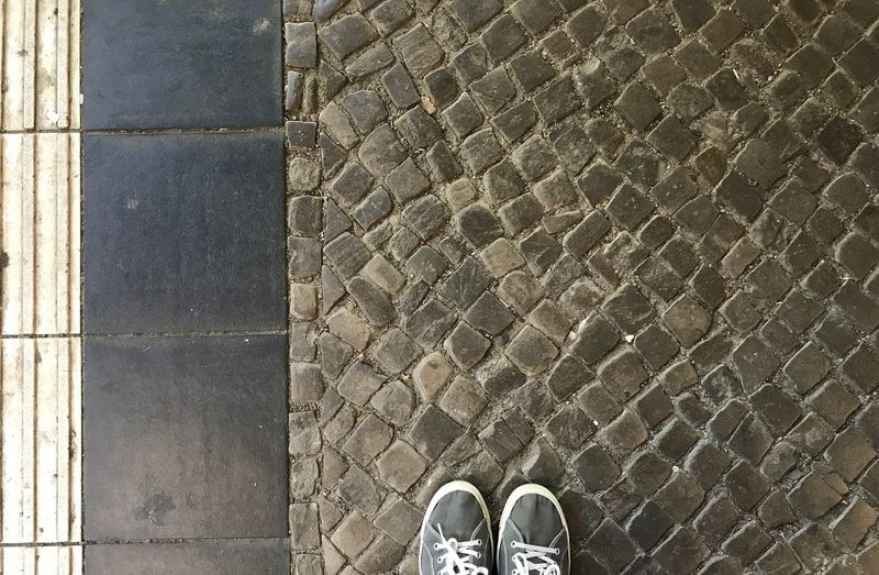 Shoe Low Section Human Body Part Body Part Human Leg One Person Personal Perspective Standing Real People Day Footpath High Angle View Directly Above Pattern Unrecognizable Person Leisure Activity Textured  Street Lifestyles