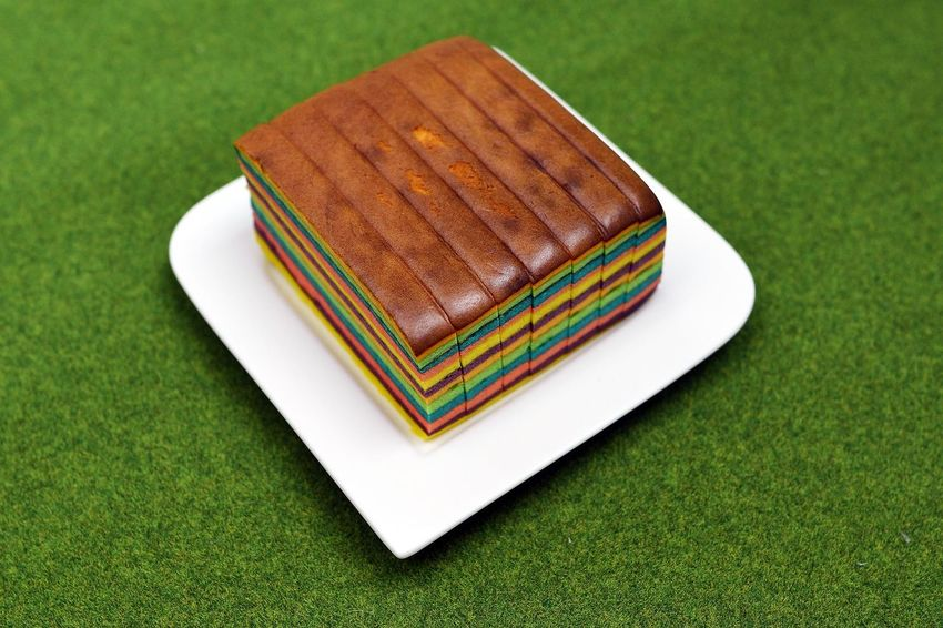 Cake Close Up Close-up Colorful Colourful Green Lapis Plate Rainbow SLICE Sliced Temptation