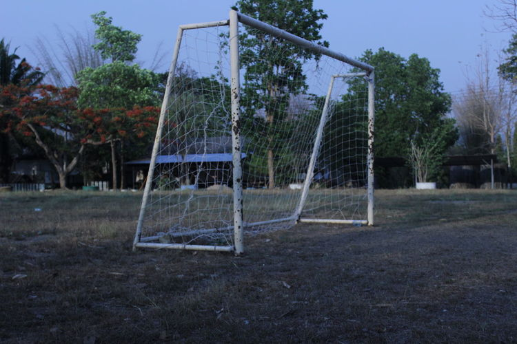 View of soccer field against sky