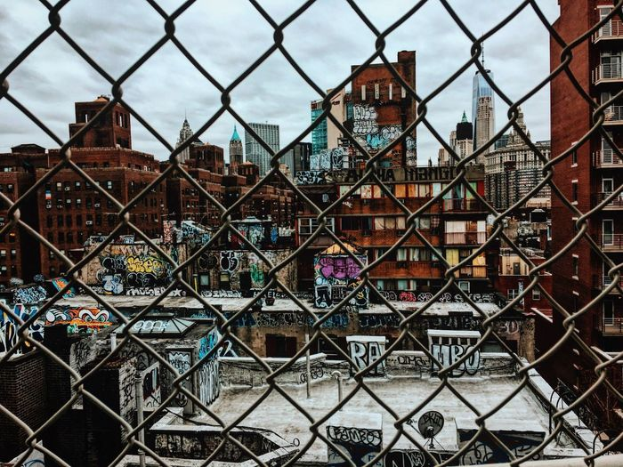 Architecture Chainlink Fence Building Exterior Built Structure City Metal Day Outdoors No People Protection Sky Travel Destinations Cityscape New York City