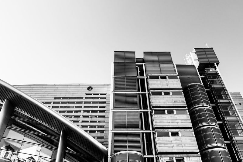 Architecture Architecture_bw Blackandwhite Building Exterior City Clear Sky Day Facades Madrid Spain Modern Monochrome No People Sports Center Streetphotography Urban Geometry Window