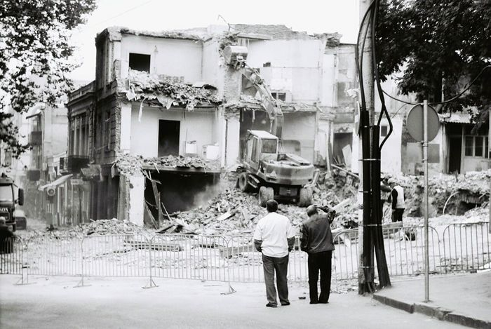 Here Belongs To Me Destruction Old Buildings Two Men Streetphotography Black And White Bwphoto Analogue Photography Film Photography Film Is Not Dead 35mm