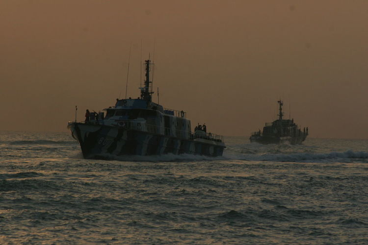 View Of Military Boats On Sea