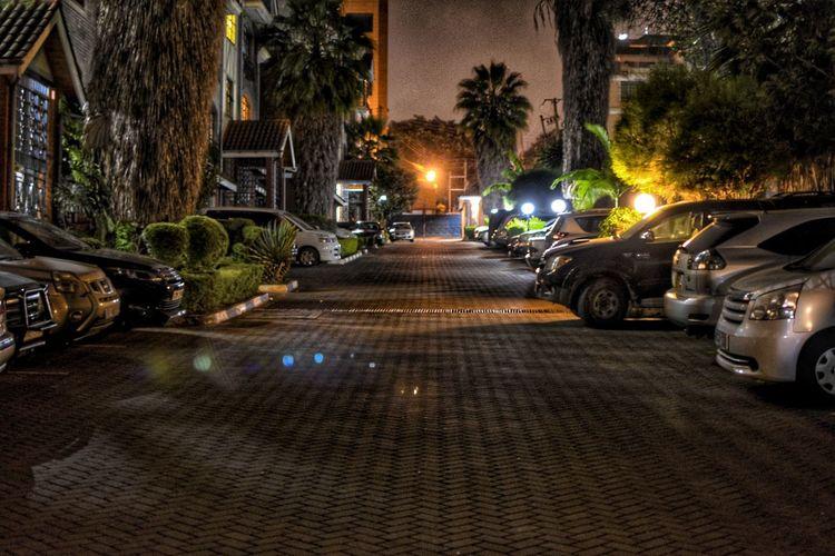 Street Streetphotography Night Nightphotography Night Lights Night Life Road Urban Dark Illuminated Tree Car Land Vehicle Parking Parking Lot Stationary Headlight Vehicle Light