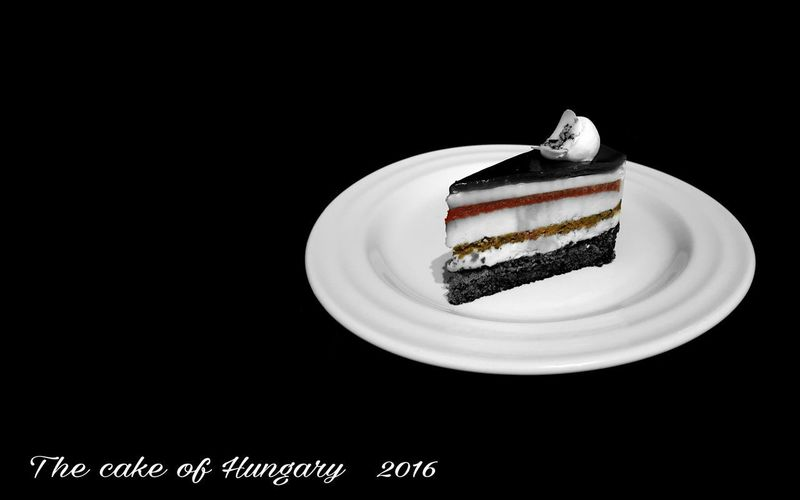 Close-up of cake in plate against black background