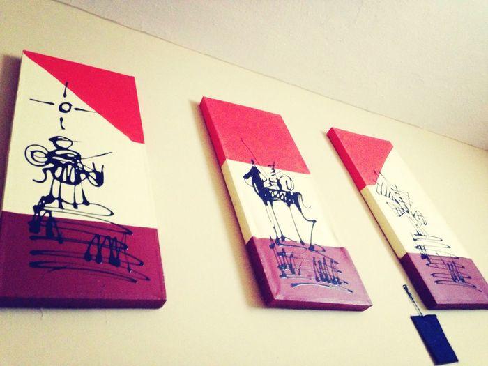Mi cuarto adornado por Don Quijote y Sancho xD
