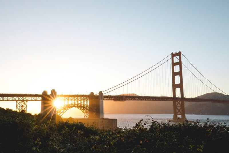 Golden hour Golden Hour Sanfrancisco Golden Gate Bridge Sunset Suspension Bridge Travel Sunlight Beautiful