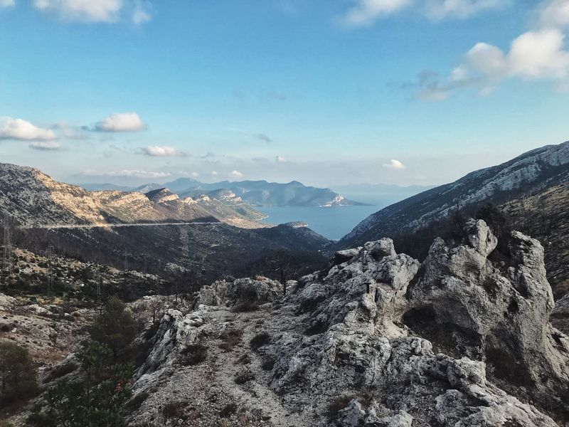 Mountains and sea view picturesque view in Croatia Bay Beauty In Nature Day Height High Landscape Mountain Mountain Range Mountains Nature No People Outdoors Peak Picturesque Range Scenery Scenics Sky Tranquil Scene Tranquility