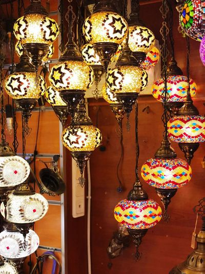 Turkish Lamp Lighting Equipment For Sale Retail  No People Indoors  Decoration Store Illuminated Multi Colored Design Art And Craft