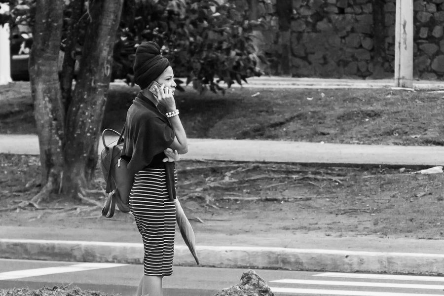 Adult Black & White Black And White Photography Blackandwhite Brazil Casual Clothing Cellphone Day Editorial  Full Length Leisure Activity Lifestyles Nature One Person Outdoors People Real People Salvador Bahia Standing Streetphotography Talking Telephone Women Young Adult Young Women