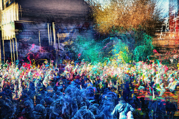people fight with colors bucket's Adult Adults Only Architecture Bucket Celebration Colors Crowd Day Excitement Fan - Enthusiast Holi Large Group Of People Motion Multi Colored Only Men Outdoors Painting People Positive Togetherness