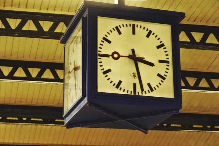 At The Train Station Clock Old-fashioned Time Clock Face Minute Hand Indoors  No People