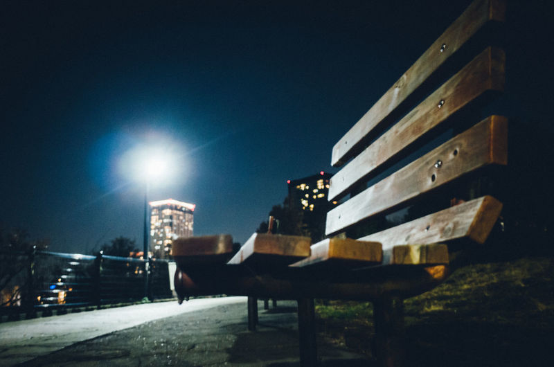 Bench Japan Night Lights Simple Moment Sky And City Tokyo Tranquility Architecture Atmospheric Mood Building Exterior Built Structure City Clear Sky Fragility Illuminated Low Angle View Night Night View No People Outdoors Scenery Silence Sky