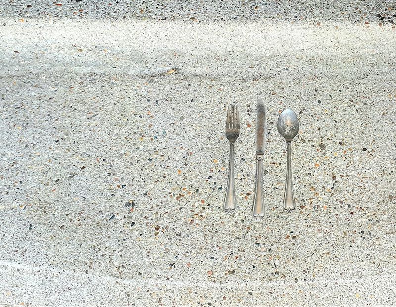 Walking Path Cutlery Cutlery Decoration Cement, Concrete, Gray, Stone, Hard, Construction, Urban, Paving, Fork, Sppon, Knife