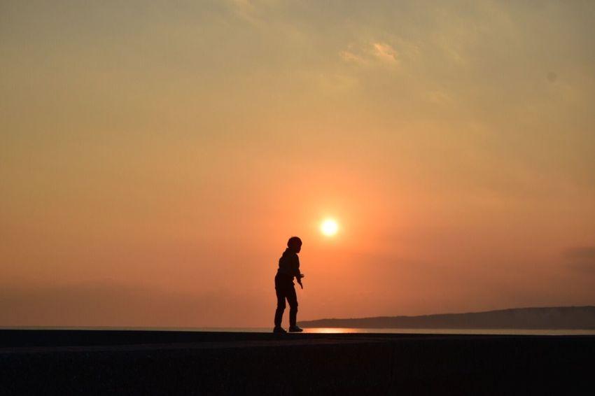 Sunset Silhouette Nature Sky Sea One Person Scenics Beach View Happy Time Nature Photography いつもの海 Japan …久しぶりに開けたら…なんだ…タグ。。