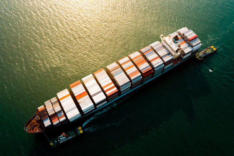 Logistics and transportation of container cargo ship business service import export international