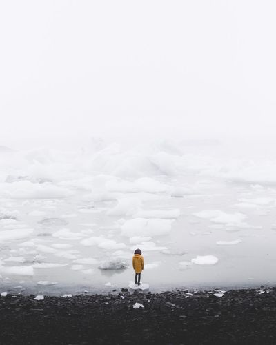 Rear view of woman standing on iceberg in sea against sky