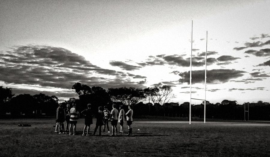 Team Talk Rugby Sport Twilight XperiaZ5 Black And White Monochrome Photography