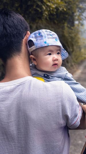 baby Real People Family With One Child Childhood Family Boys Togetherness Bonding Love Father Son Leisure Activity Casual Clothing Elementary Age Lifestyles Day Outdoors Men Close-up Young Adult People