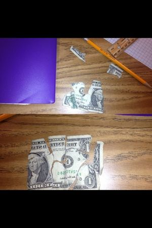 Trying to put this dollar back together in math... Yeah...... I'm a junkie.......