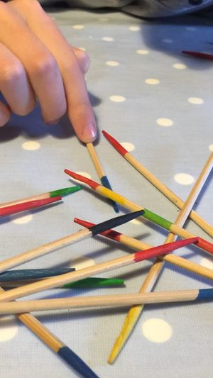Pick Up Sticks Colours Game Control Family Time Competative Sticks Wooden Hand Selective Focus Close-up Focus On Foreground EyeEm Diversity