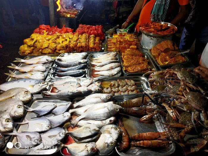Close-up of fishes for sale in market