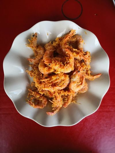 Prawn Fried Prawns Deep Fried  EyeEm Selects Plate Defocused Directly Above High Angle View Close-up Food And Drink