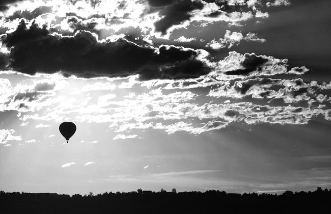 Reedit The Moment - 2015 EyeEm AwardsRepost Sunrise Blackandwhite Black And White Black & White Clouds And Sky Hot Air Balloon Cloudporn
