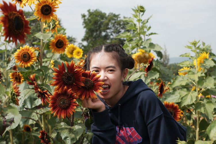 Low angle view of girl standing on sunflower