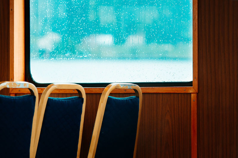 Boat Trip Alster Bad Weather Boat Chair Close-up Day Ferry Ferryboat Hamburg Home Interior Indoors  Long Goodbye Nature No People Rain Rainy Days Seat The Secret Spaces Travel Vacations Weather Window EyeEm Diversity