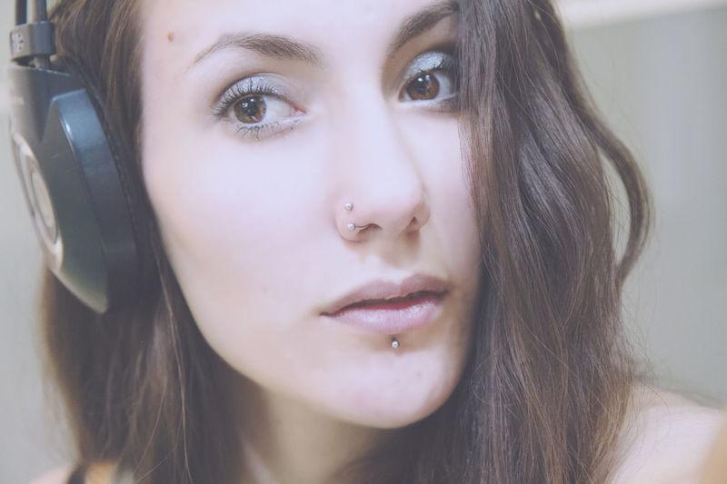 #selfie AKG Girl Headphones Musician Pierced Girl Portrait Serious Face First Eyeem Photo