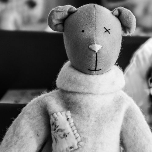 Bear Blackandwhite Photography Close-up Day Focus On Foreground Human Representation Indoors  One Eyed Bear Stuffed Toy Toyphotography Lieblingsteil