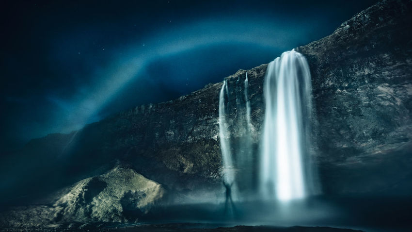 In Iceland, you get to see rainbows even at night Astronomy Beauty In Nature Blue Epic Iceland Landscape Long Exposure Low Angle View Mountain Nature Nature Night Night Photography No People Power In Nature Rainbow Rock - Object Rocks Scenics Seljalandsfoss Travel Destinations Water Waterfall Waterfalls Break The Mold An Eye For Travel