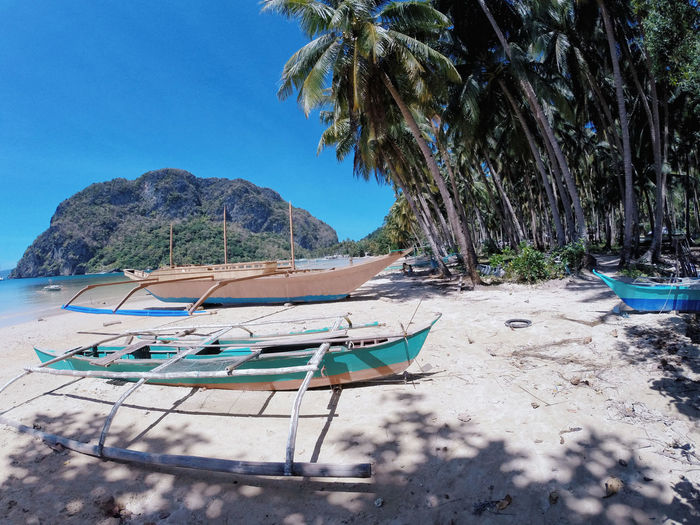 Beach Beauty In Nature Day Moored Nature Nautical Vessel No People Outdoors Palawan Sand Scenics Sea Sky Tranquility Tree Water