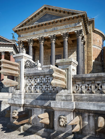 Roman temple, reconstruction Ancient Civilization Architectural Column Architecture Art And Craft Building Building Exterior Built Structure City Day Government History Nature No People Outdoors Sculpture Sky Staircase Sunlight The Past Tourism Travel Travel Destinations