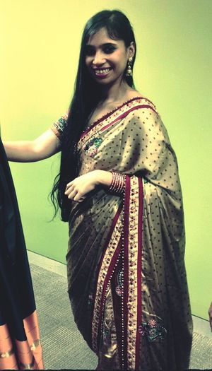 Saree Golden Girl Feeling Pretty Traditional Indian Style All Dressed Up office party Striking Fashion