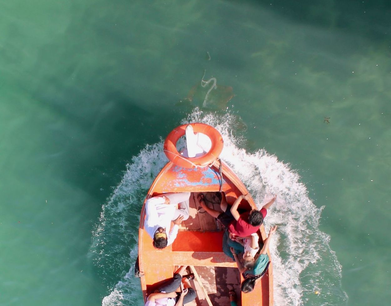 Day Dwarka Gomtighat Gomtiriver High Angle View Leisure Activity Men Mode Of Transport Nature Nautical Vessel Outdoors Real People Sea Togetherness Transportation Two People Water